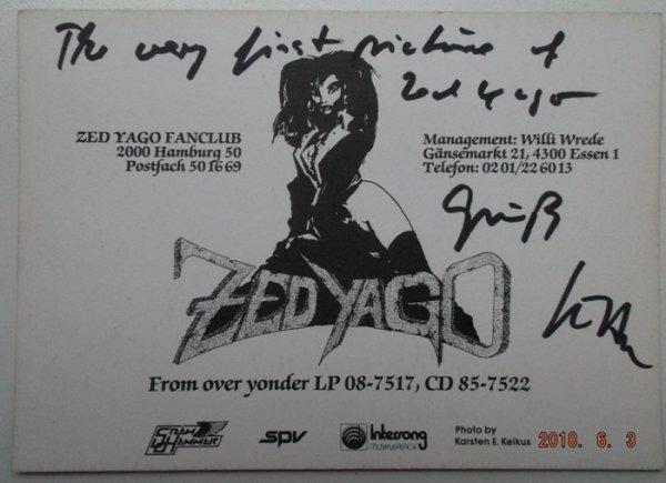 Автограф Jutta Weinhold (вокалиста группы Zed Yago)