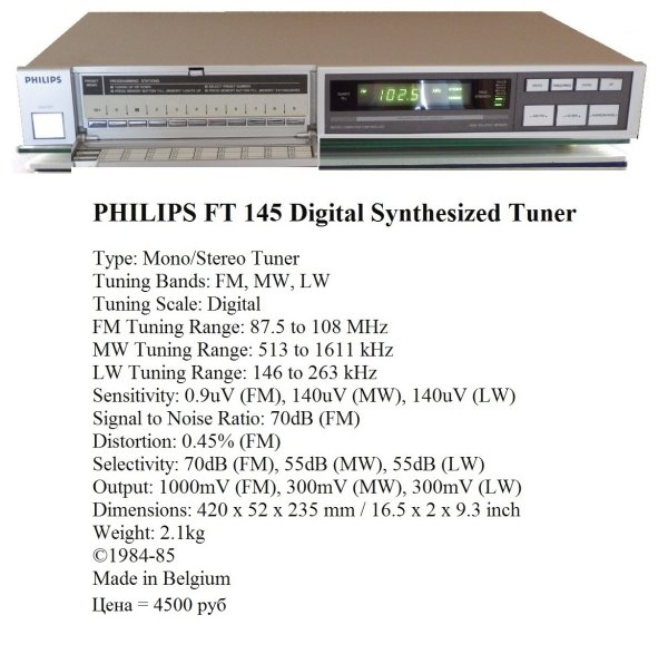 PHILIPS FT 145 ☆Digital Synthesized Tuner☆Belgium●NM●😉👉